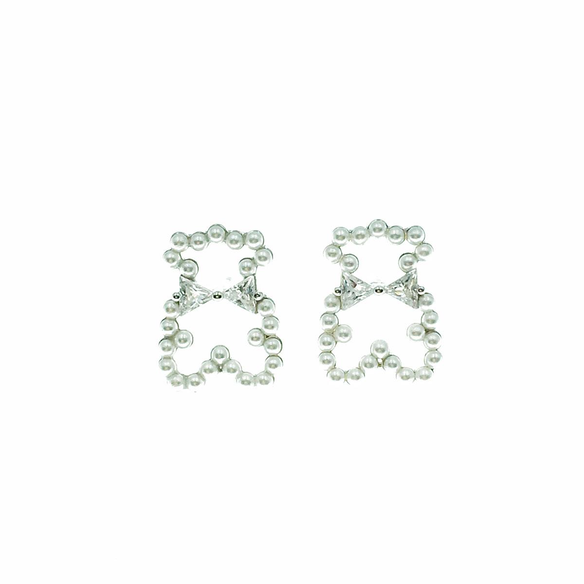 韓國 925純銀 水鑽 珍珠 熊熊 簍空 耳針式 耳環