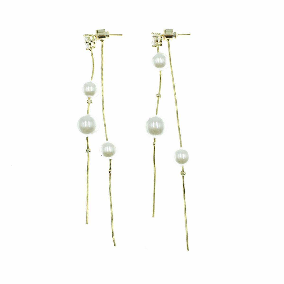 韓國 925純銀 水鑽 珍珠 後扣式 垂墜感 耳針式 耳環