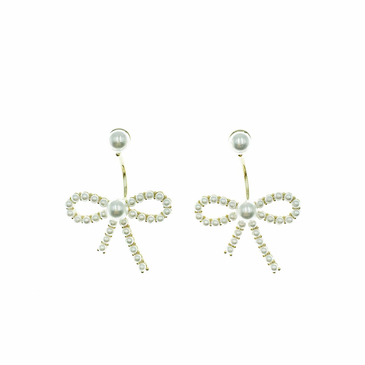 韓國 925純銀 珍珠 蝴蝶結 後扣式 垂墜感 耳針式 耳環