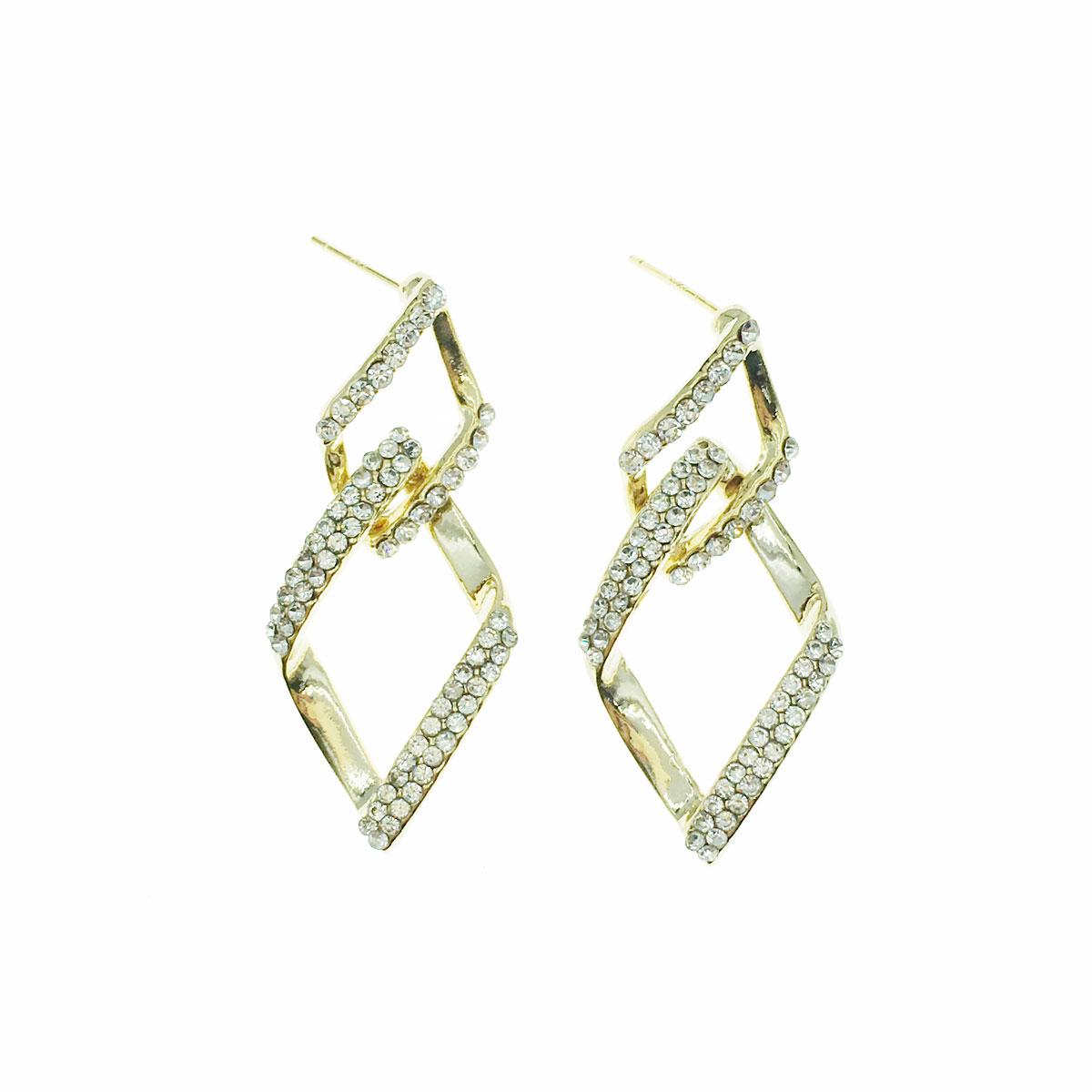 韓國 925純銀 水鑽 菱形 垂墜感 耳針式 耳環