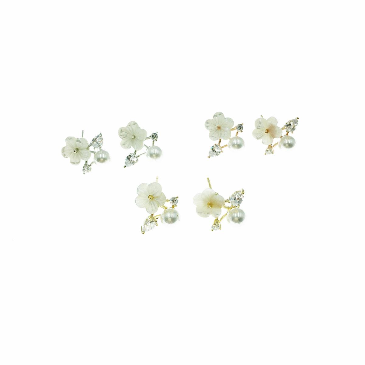 韓國 925純銀 水鑽 珍珠 花朵 三色 耳針式 耳環