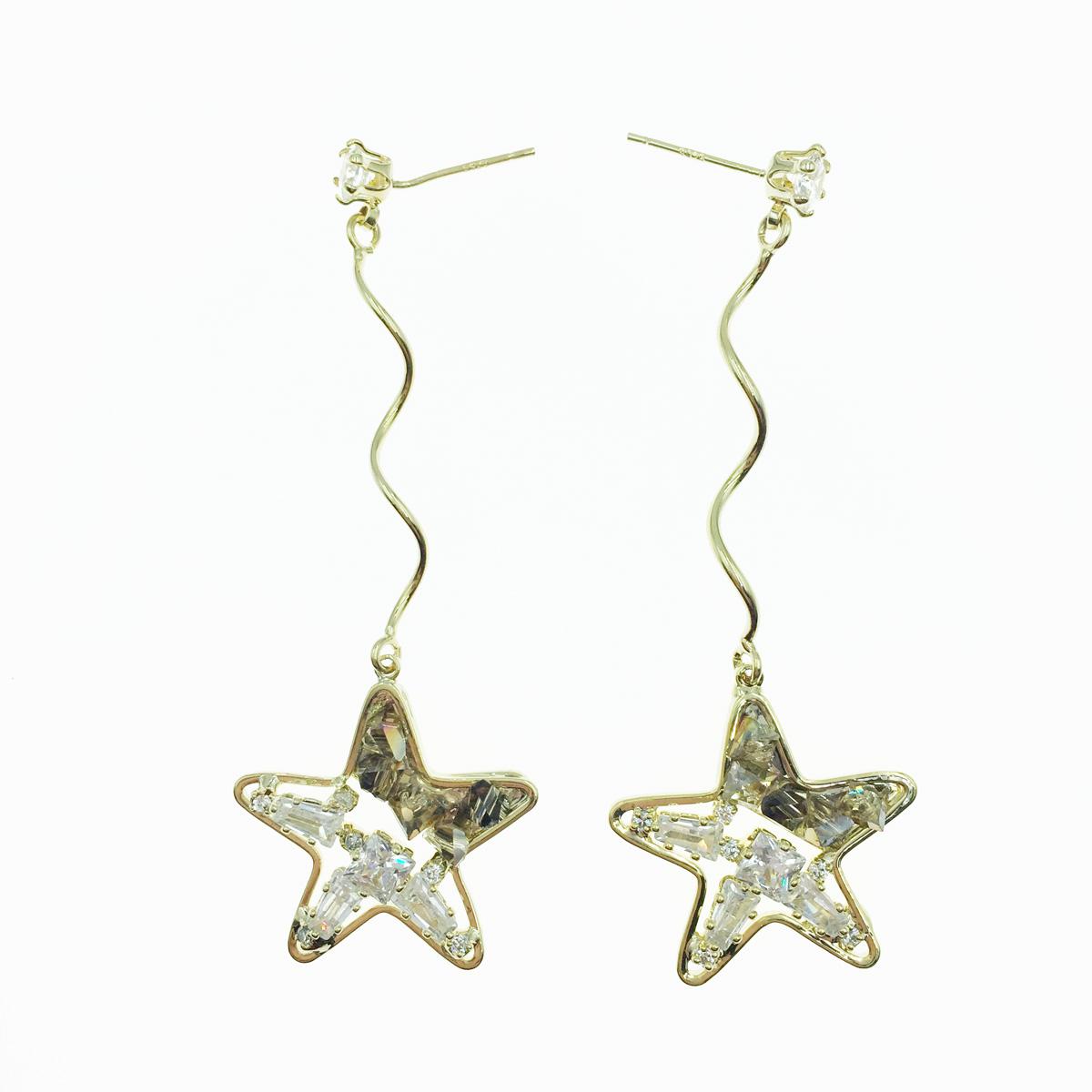 韓國 925純銀 星星 水鑽 金 垂墜感 耳針式耳環