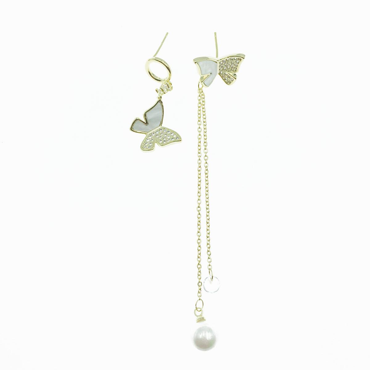 韓國 925純銀 蝴蝶 珍珠 不對稱 垂墜感 耳針式耳環