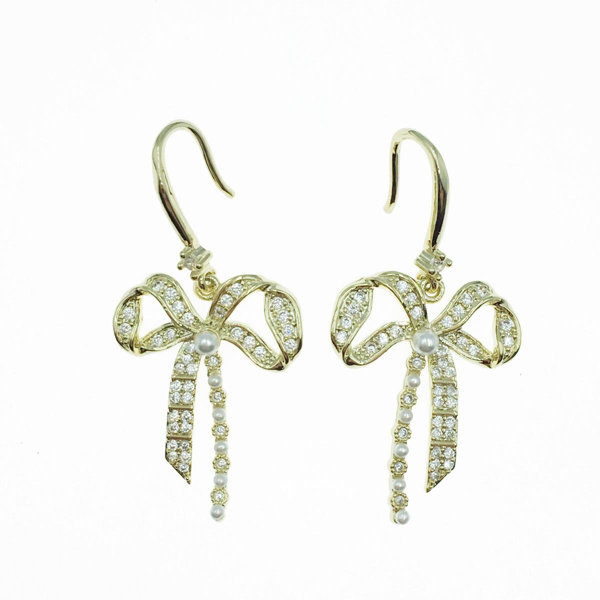 韓國 925純銀 蝴蝶結 水鑽 珍珠 垂墜感 耳勾式耳環
