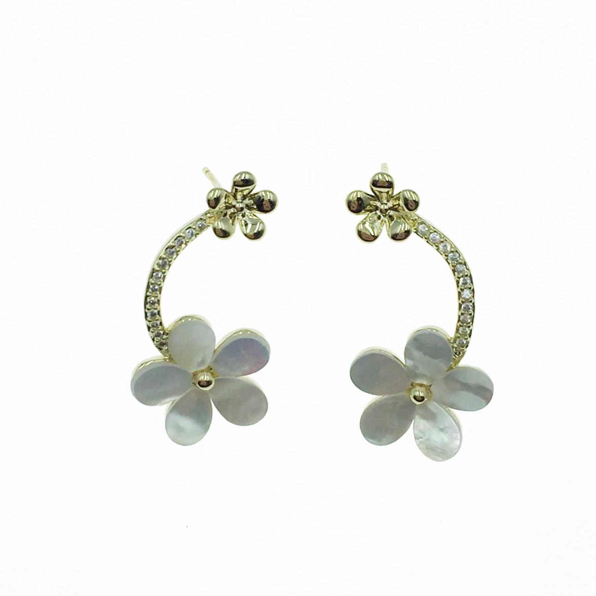 韓國 925純銀 花造型 水鑽 耳針式耳環