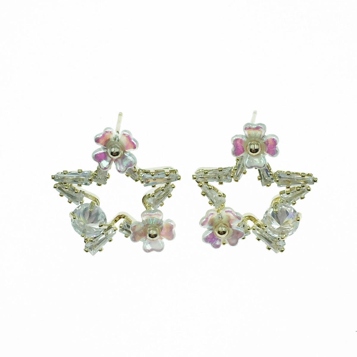 韓國 925純銀 簍空星星 水鑽 花 耳針式耳環