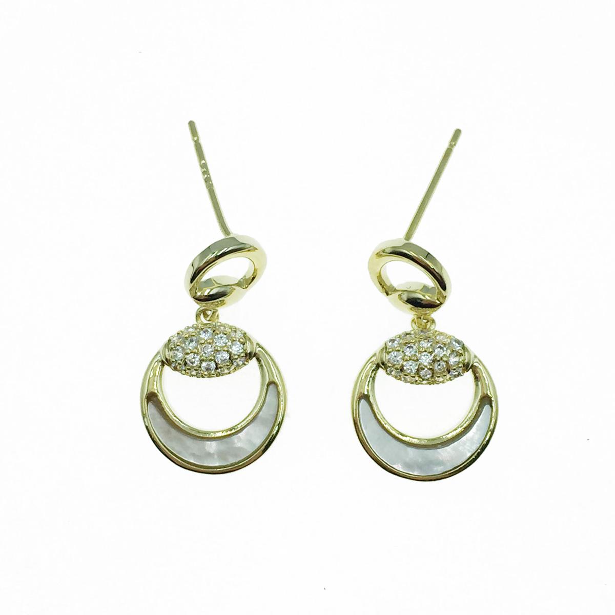 韓國 925純銀 簍空圓 水鑽 垂墜感 耳針式耳環