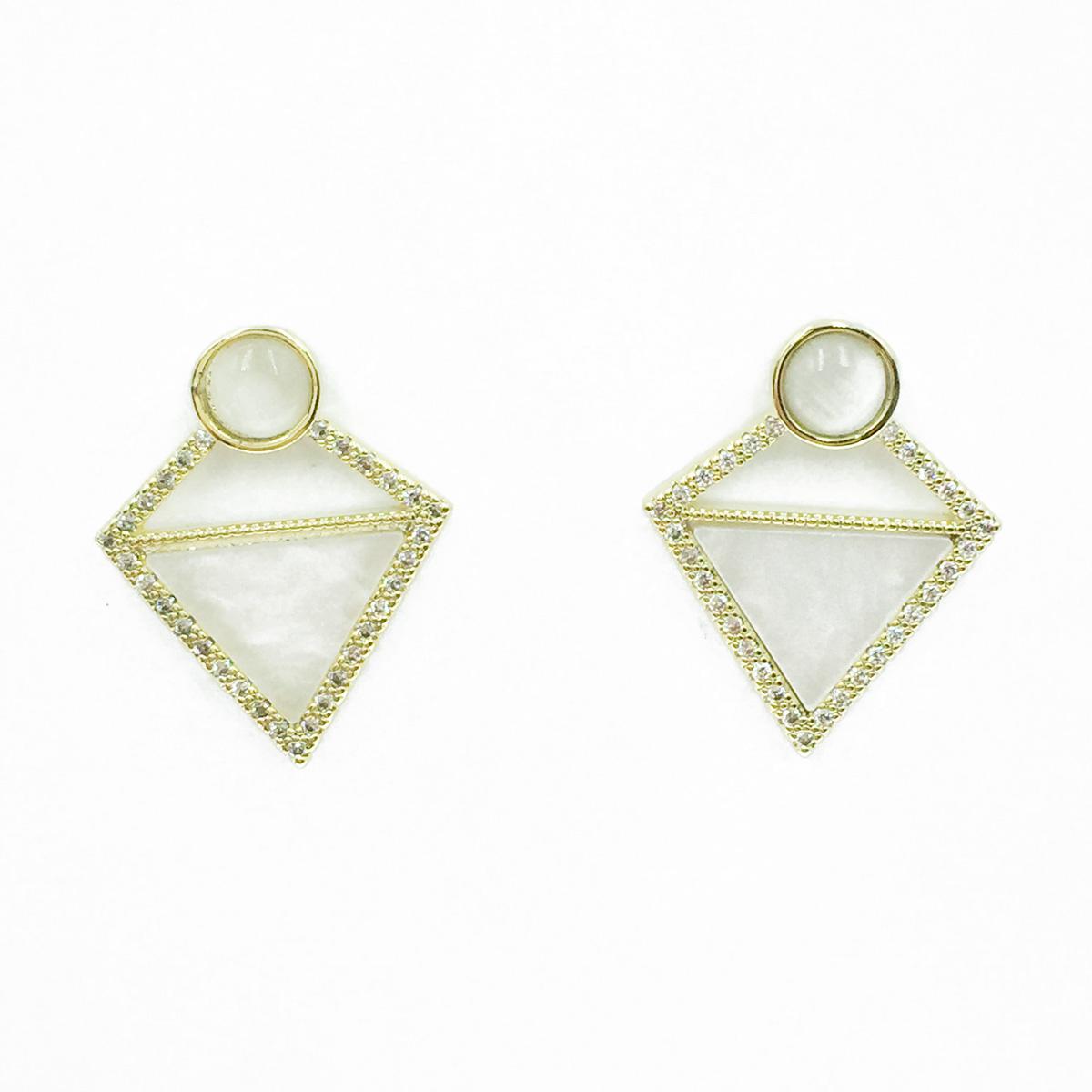 韓國 925純銀 簍空菱形 水鑽 貝殼珠 垂墜感 耳針式耳環