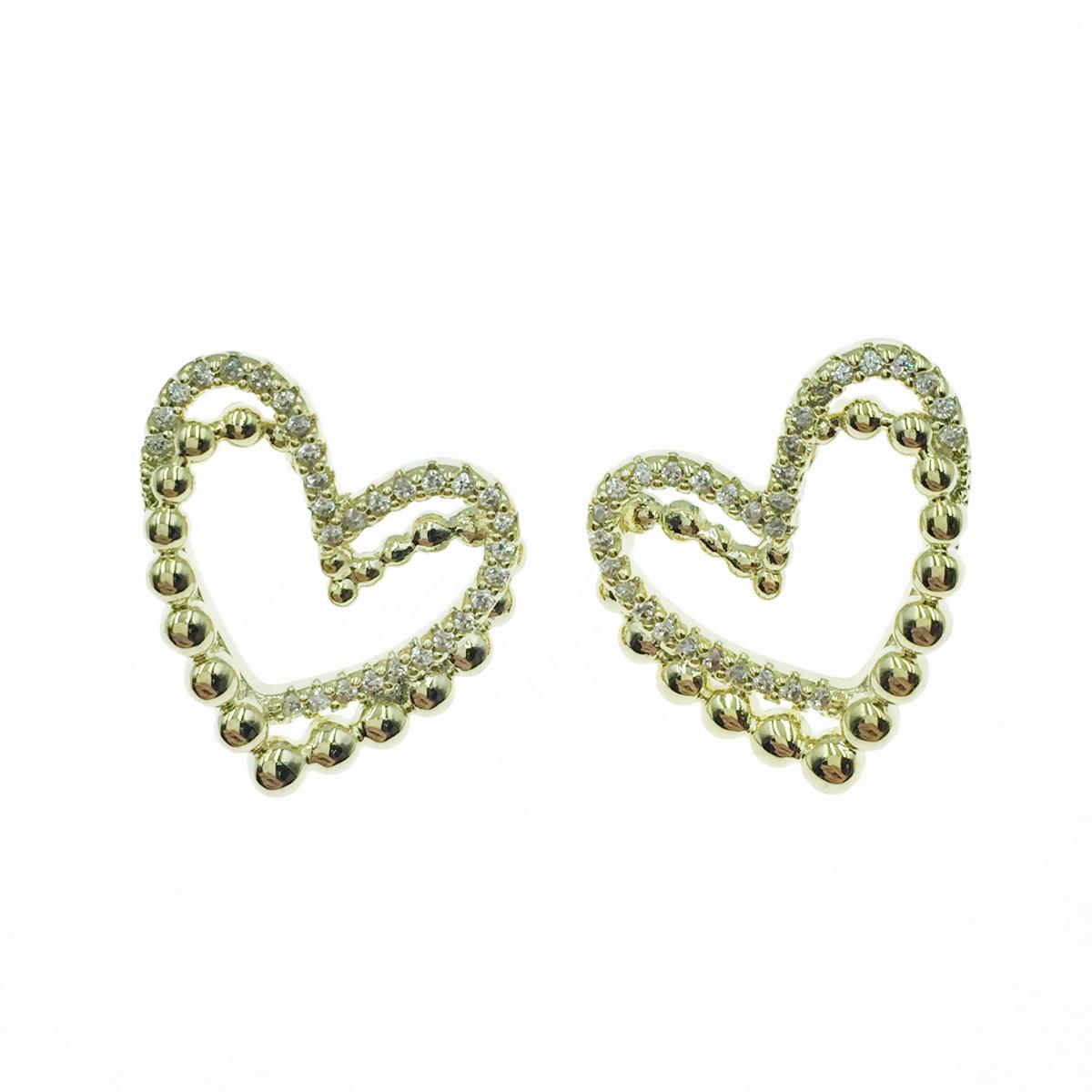 韓國 925純銀 簍空愛心 水鑽 金 金珠 耳針式耳環