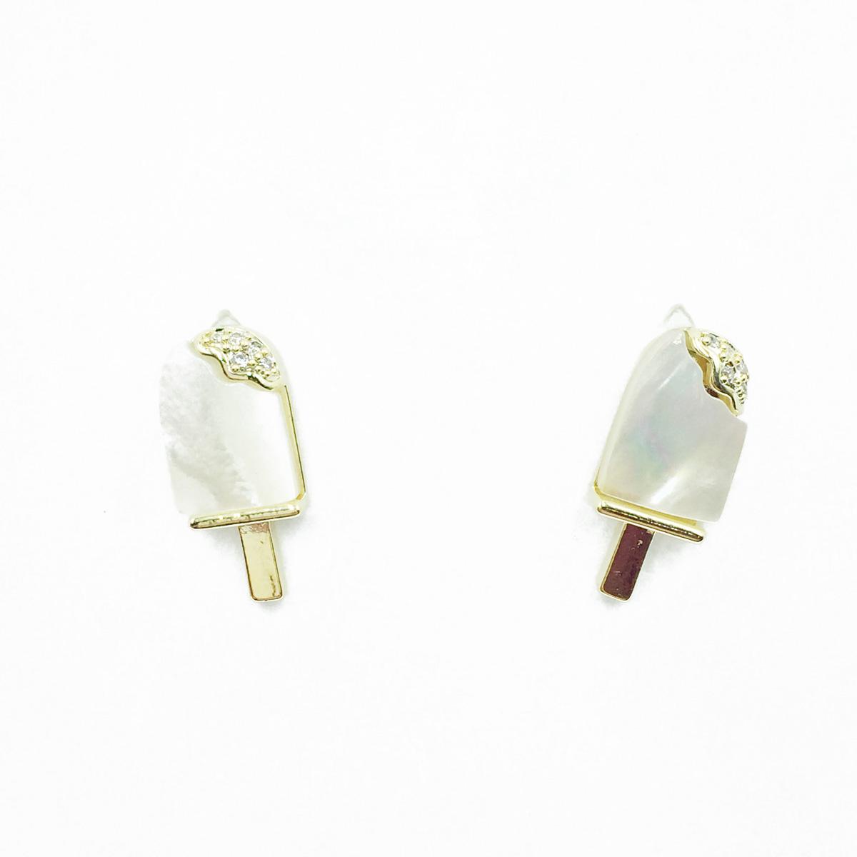 韓國 925純銀 冰棒 貝殼珠 水鑽 耳針式耳環