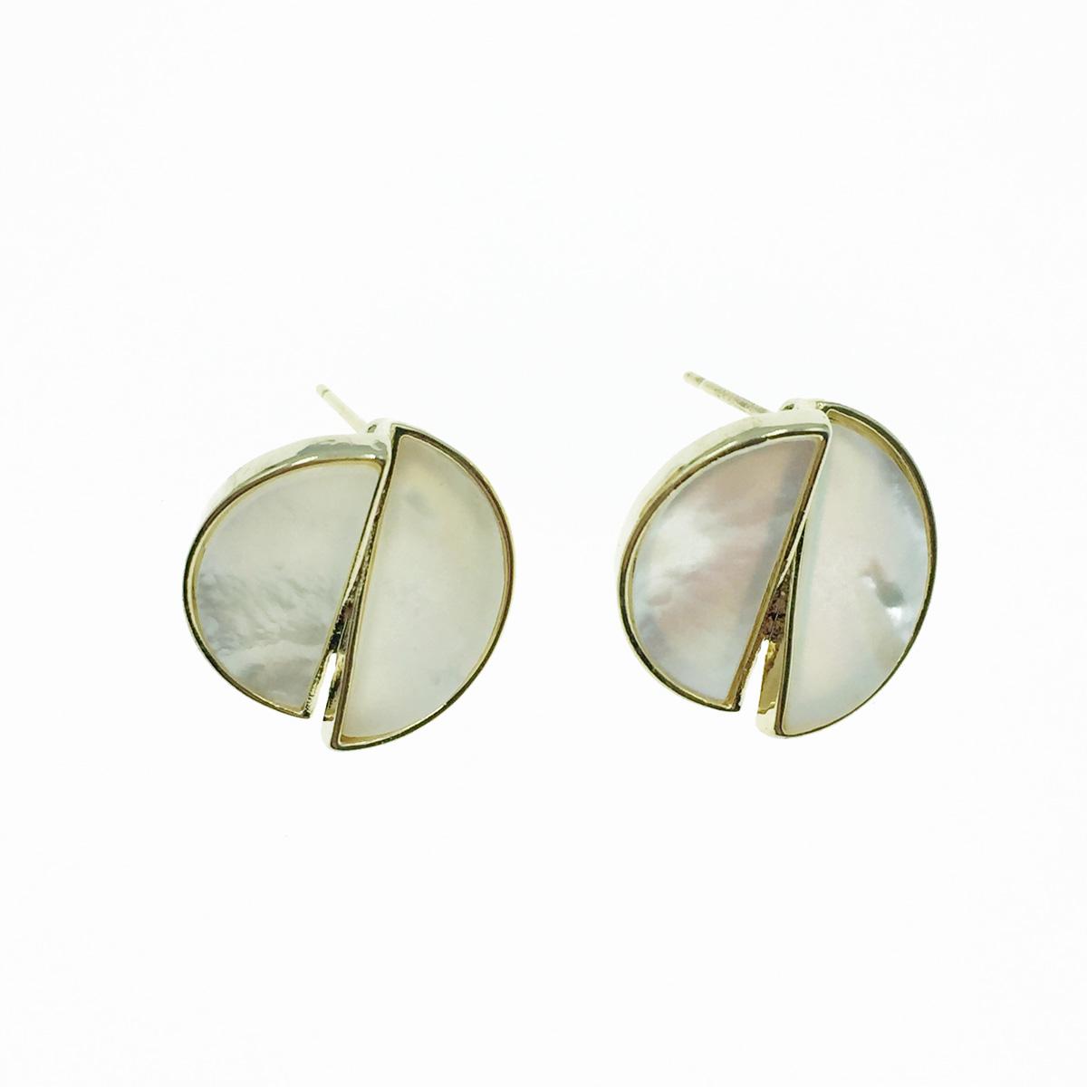韓國 925純銀 涼感寶石 半圓 耳針式耳環