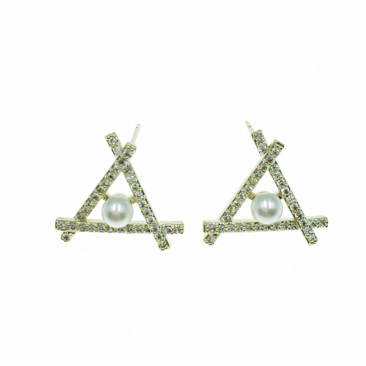 韓國 925純銀 水鑽 三角 珍珠 耳針式耳環