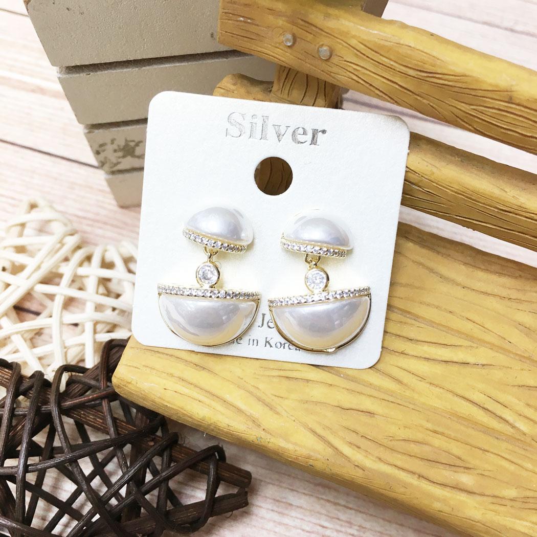 韓國 925純銀 水鑽 珍珠 垂墜感 耳針式 耳環