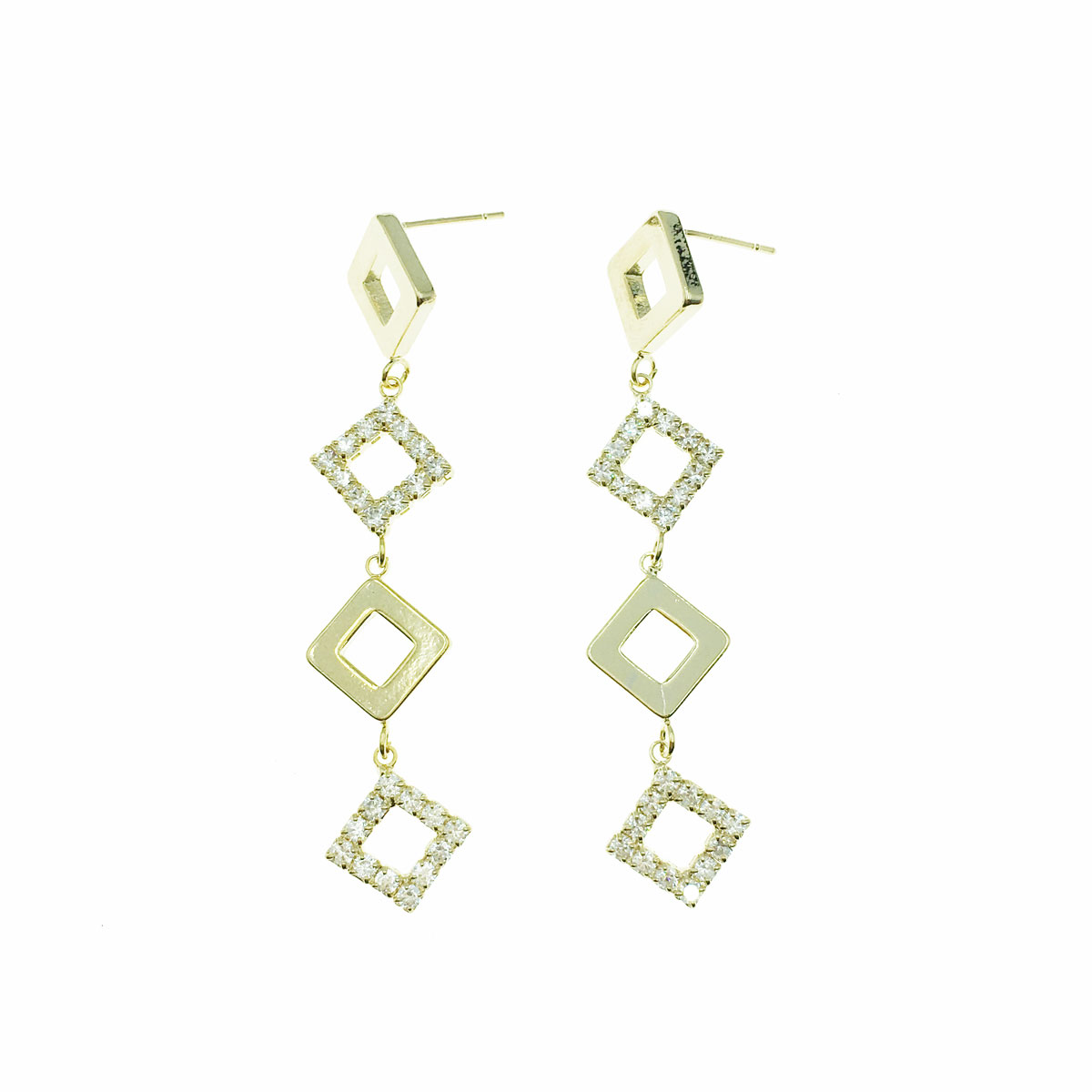 韓國 95純銀 水鑽 方形 垂墜感 耳針式 耳環