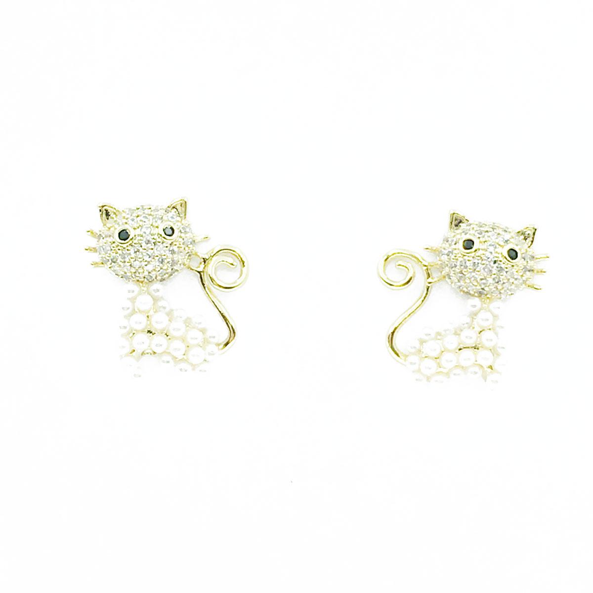 韓國 925純銀 水鑽 珍珠 貓咪 耳針式 耳環