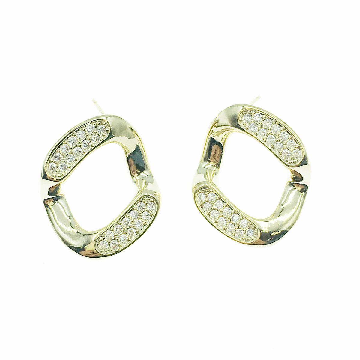 韓國 925純銀 水鑽 方形 耳針式 耳環