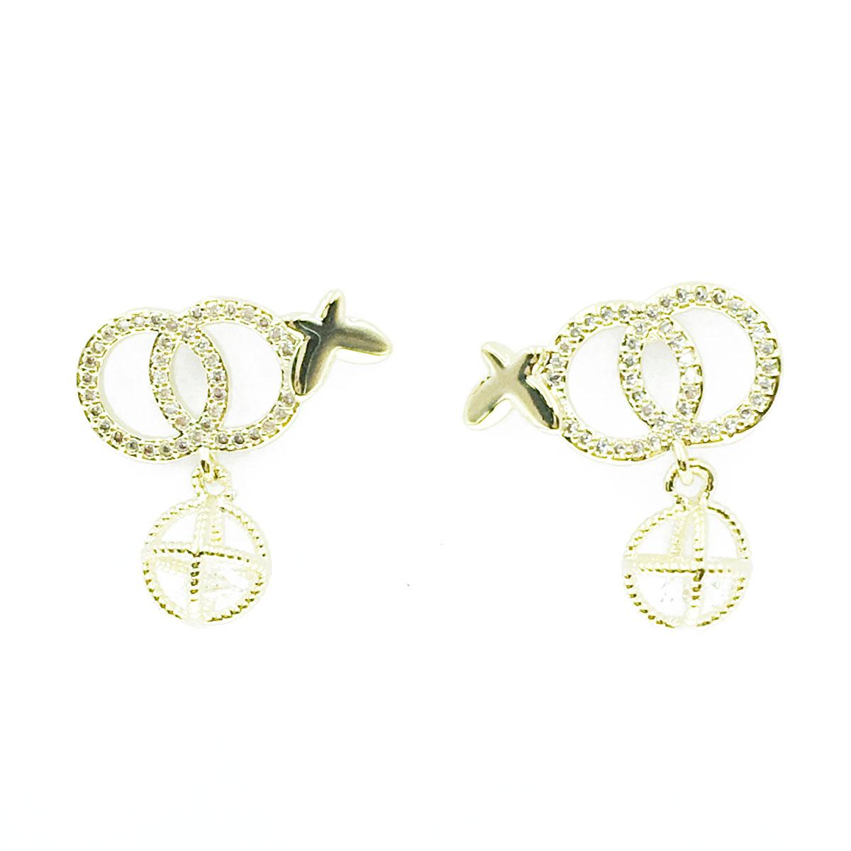 韓國 925純銀 水鑽 蝴蝶 球 垂墜感 耳針式 耳環