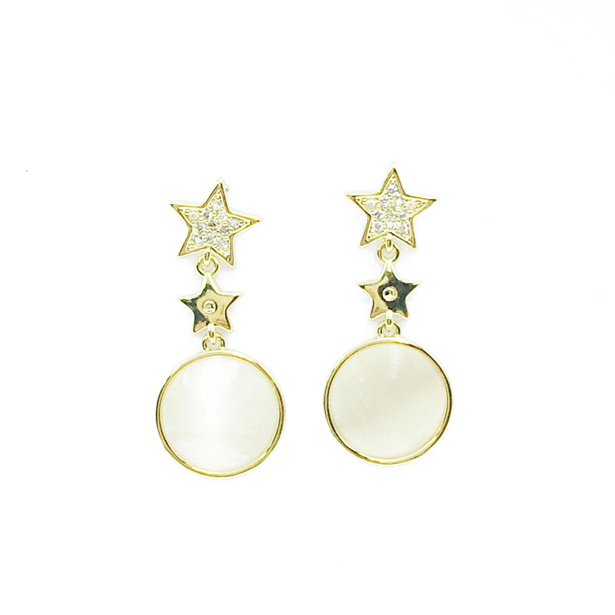 韓國 925純銀 星星 貓眼 圓 水鑽 垂墜感 耳針式 耳環