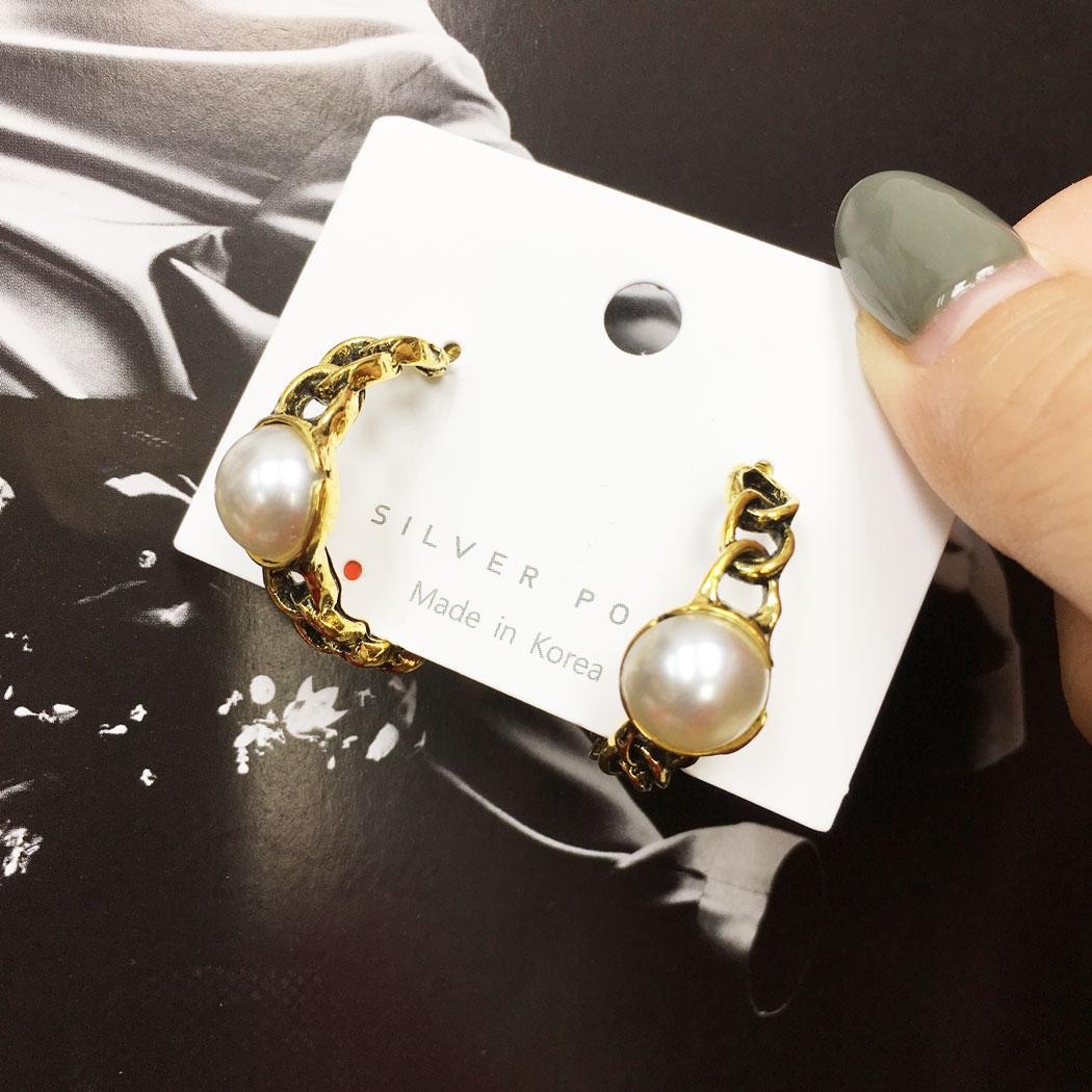 韓國 925純銀 珍珠 鍊子 c字型 歐美風 耳針式 耳環