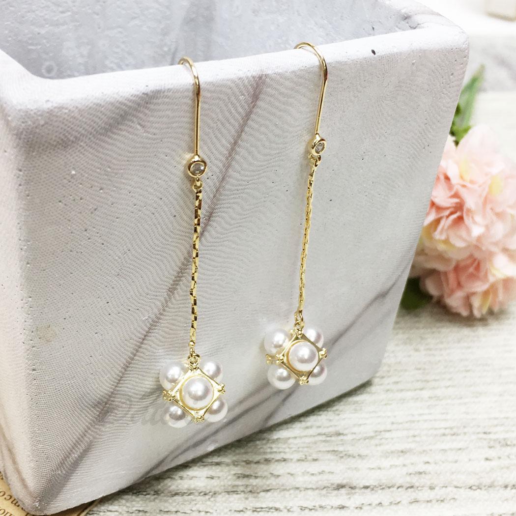 韓國 925純銀 水鑽 珍珠 方形 垂墜感 耳勾式 耳環