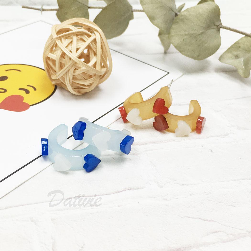 韓國 925純銀 愛心 c字型 兩色 耳針式 耳環