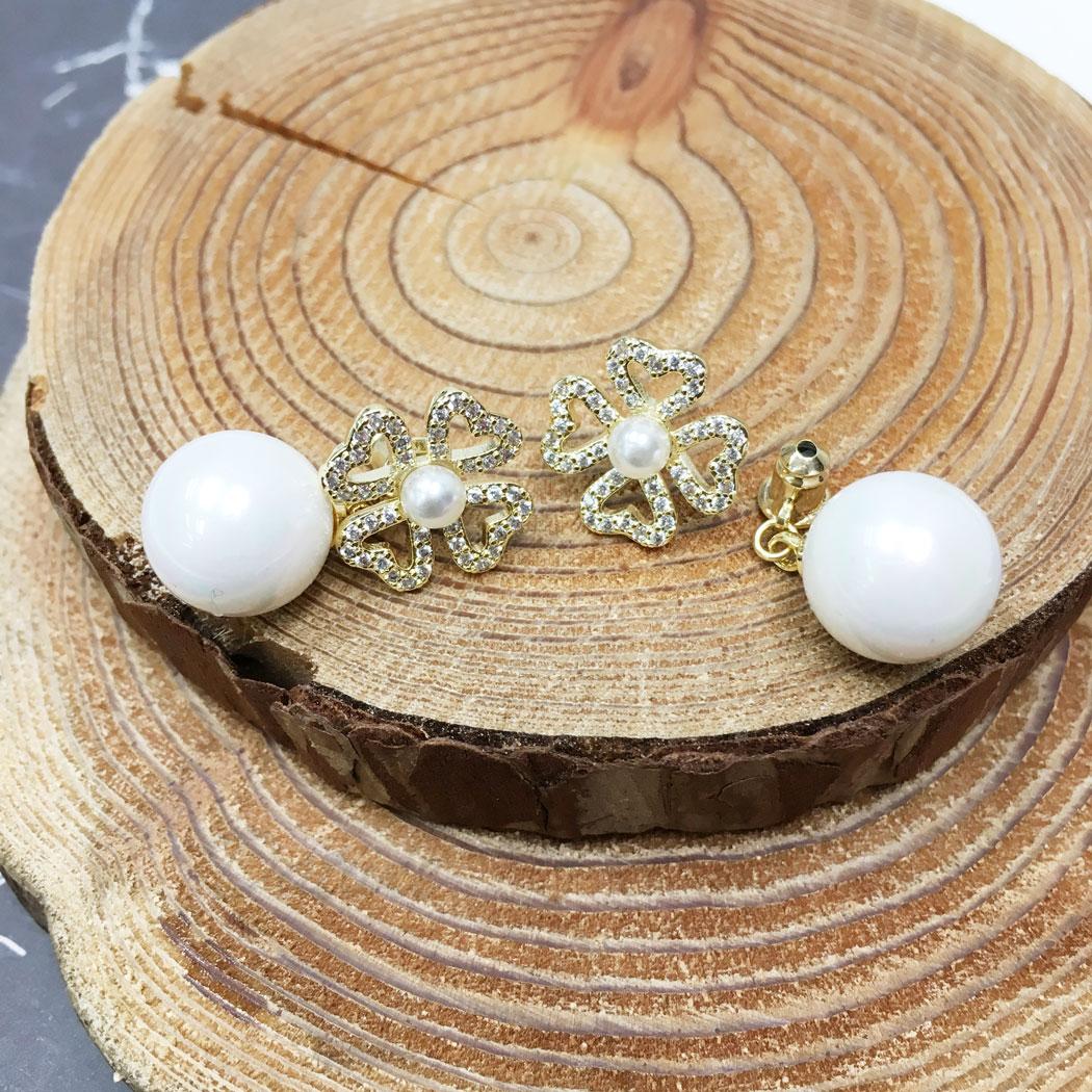 韓國 925純銀 幸運草 水鑽 珍珠 後扣式 垂墜感 耳針式 耳環