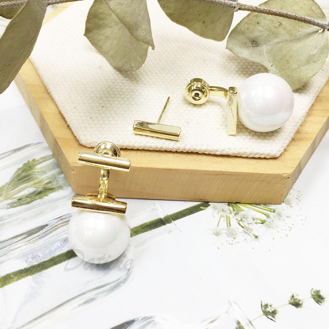 韓國 925純銀 珍珠 簡約 氣質 後扣式 垂墜感 耳針式 耳環