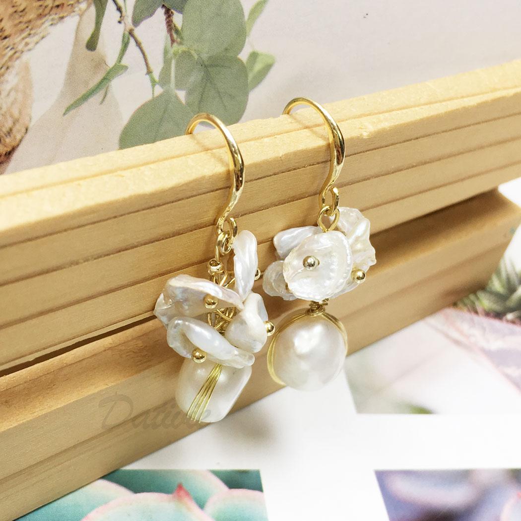 韓國 925純銀 天然珠 金邊 垂墜感 耳勾式 耳環