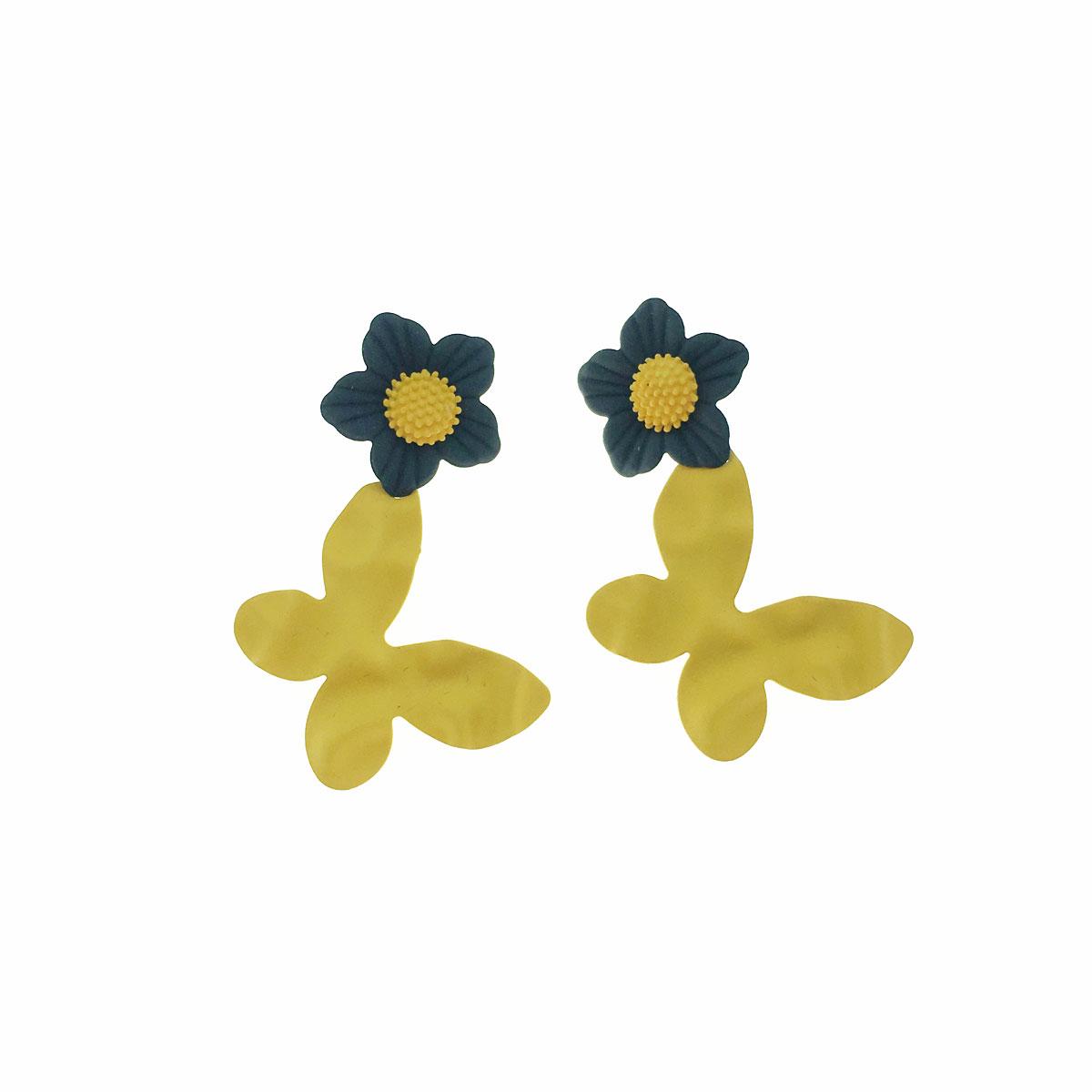 韓國 925純銀 蝴蝶 花朵 垂墜感 耳針式 耳環