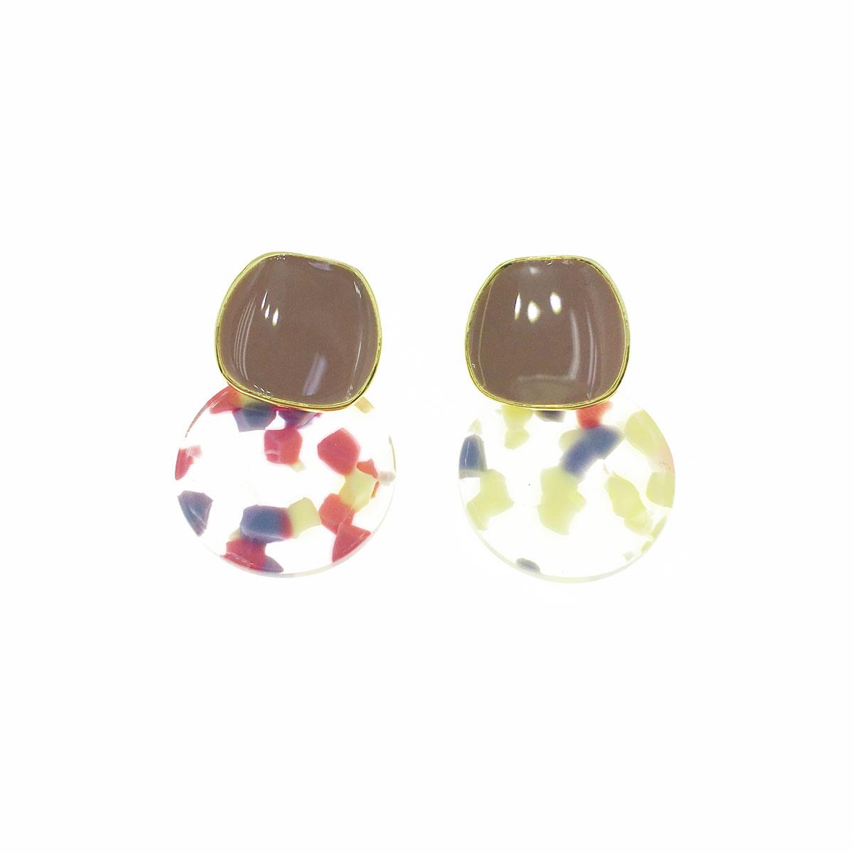 韓國 925純銀 可愛 撞色 透明 垂墜感 耳針式 耳環