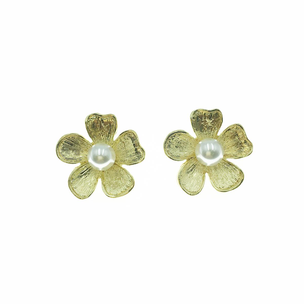 韓國 925純銀 珍珠 花朵 耳針式 耳環
