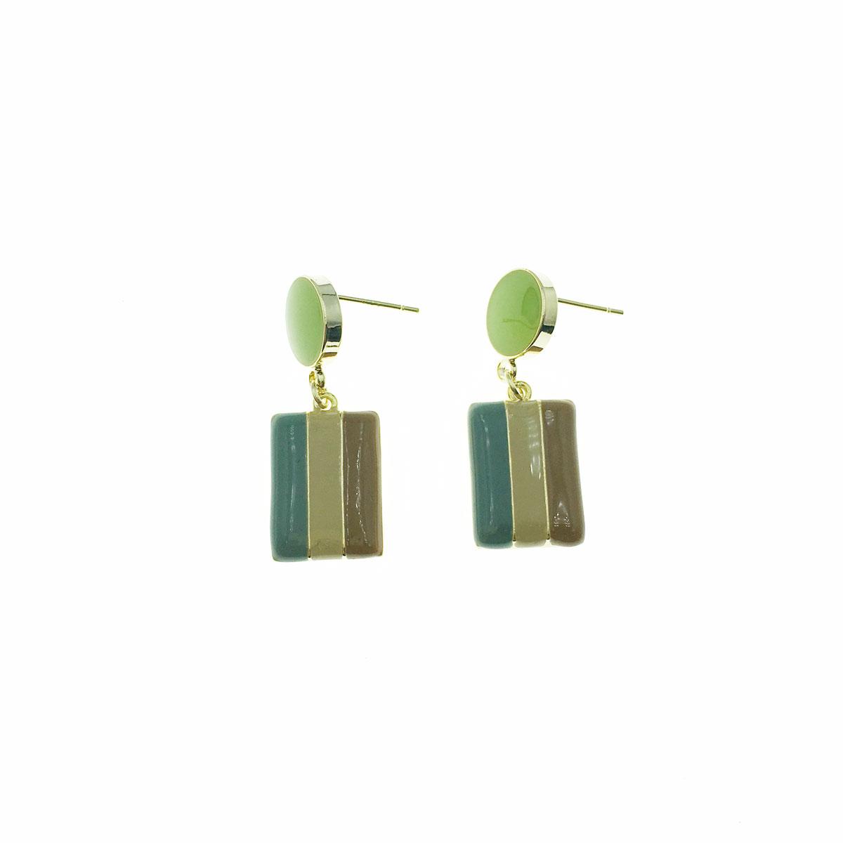 韓國 925純銀 圓 長方形 垂墜感 耳針式 耳環