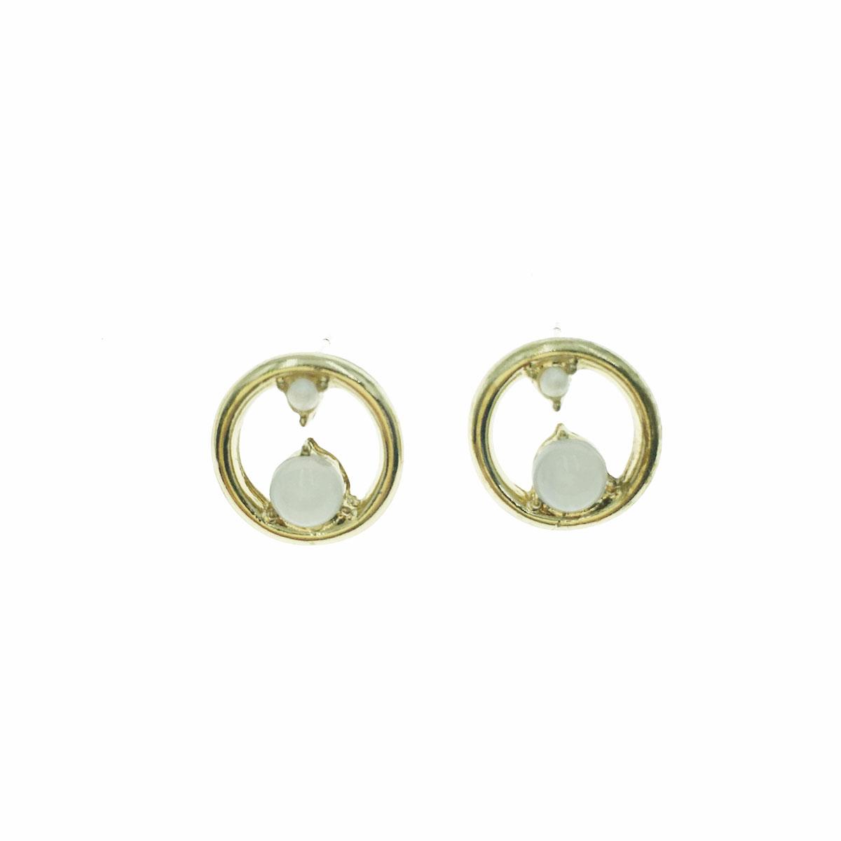 韓國 925純銀 珍珠 簍空 圓 耳針式 耳環