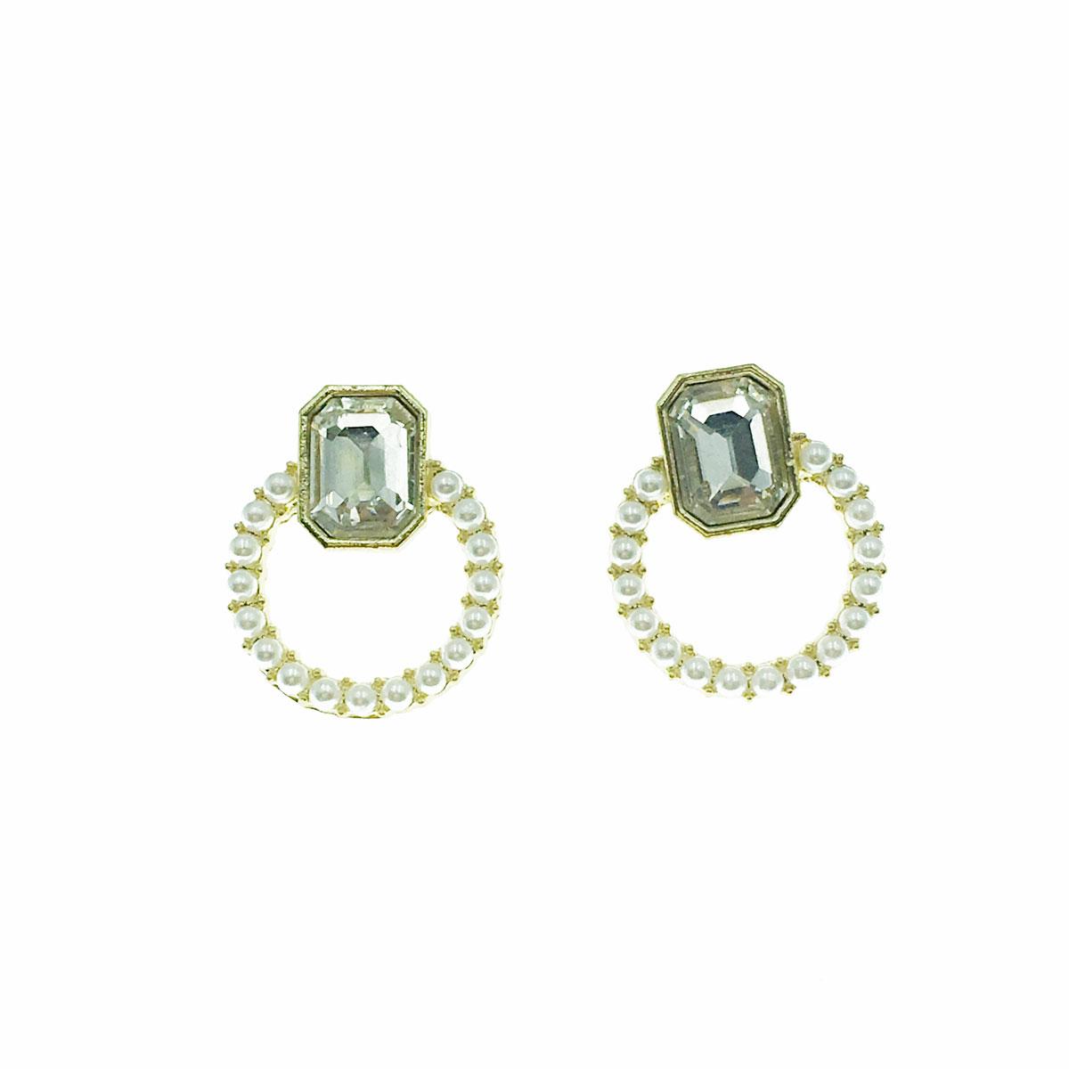 韓國 925純銀 水鑽 珍珠 簍空 耳針式 耳環