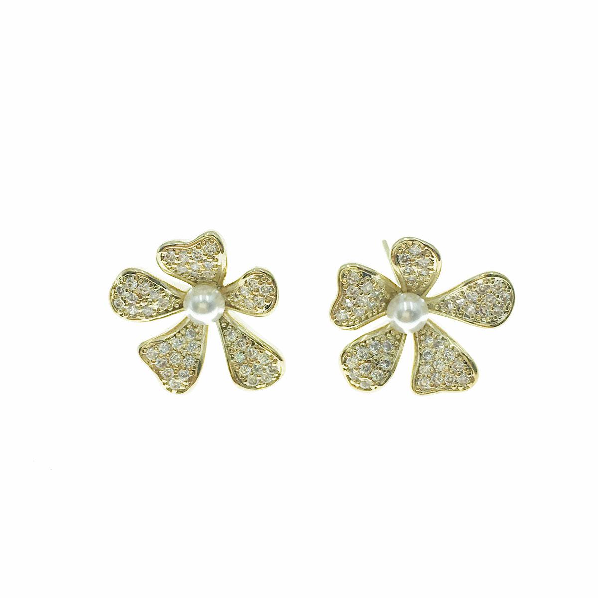 韓國 925純銀 水鑽 珍珠 花朵 耳針式 耳環