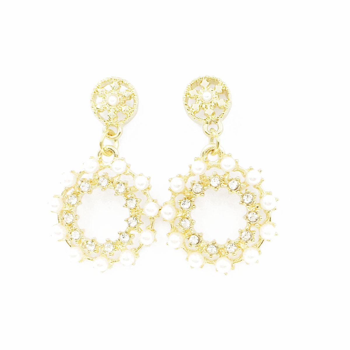 韓國 925純銀 水鑽 珍珠 圓 簍空 垂墜感 耳針式 耳環