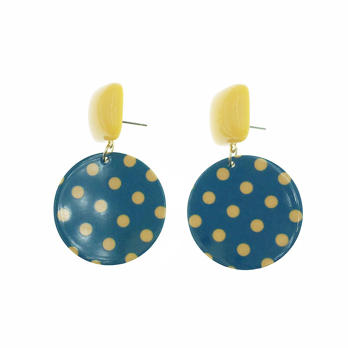韓國 925純銀 點點 方形 圓 垂墜感 耳針式 耳環