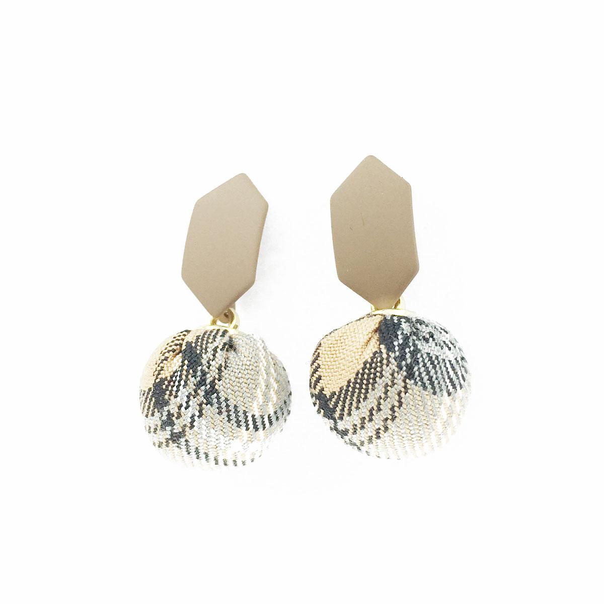 韓國 925純銀 簡約 格子 球球 六角形 垂墜感 耳針式 耳環
