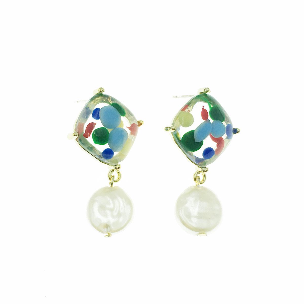 韓國 925純銀 天然珠 透明 撞色 垂墜感 耳針式 耳環