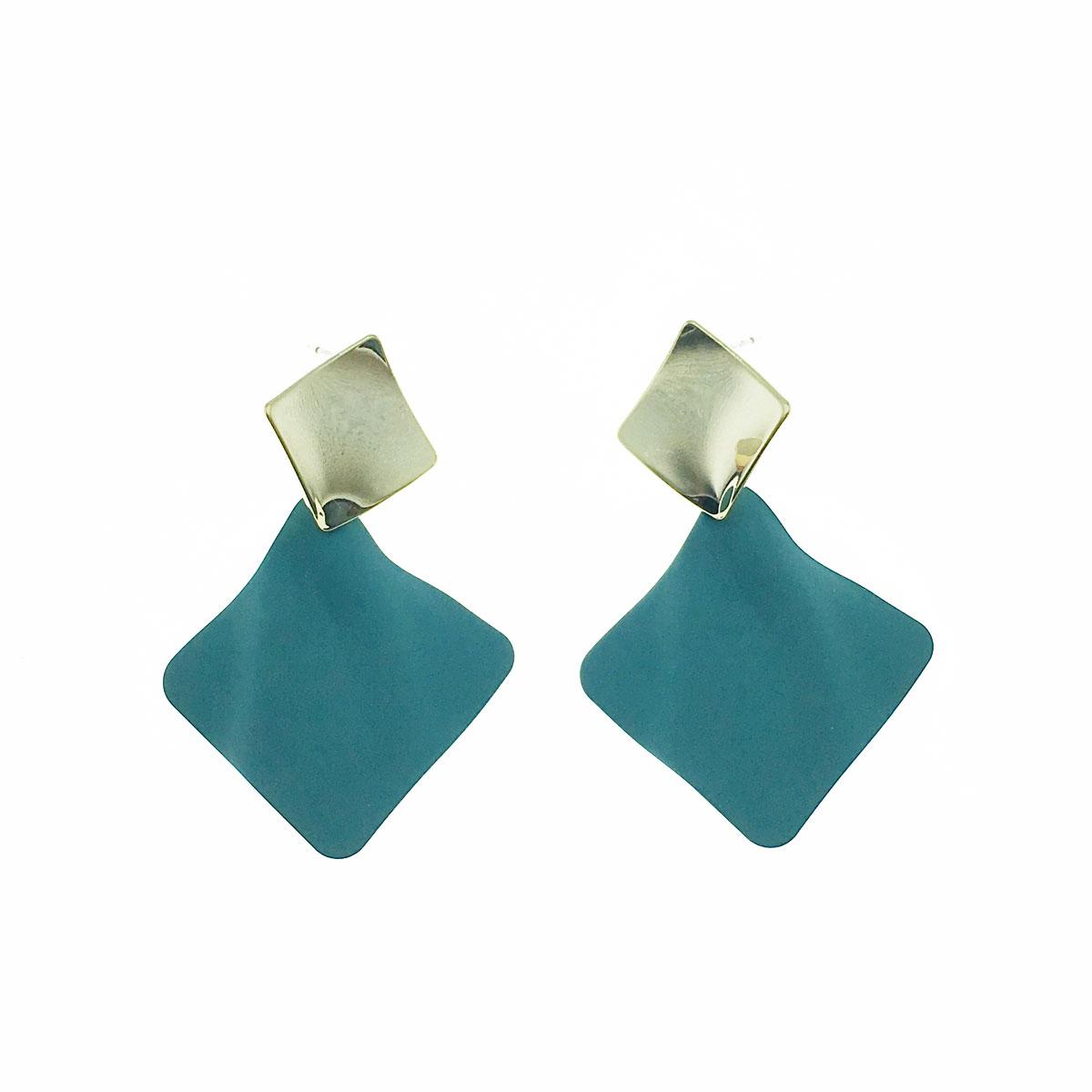 韓國 925純銀 方形 簡約 垂墜感 耳針式 耳環