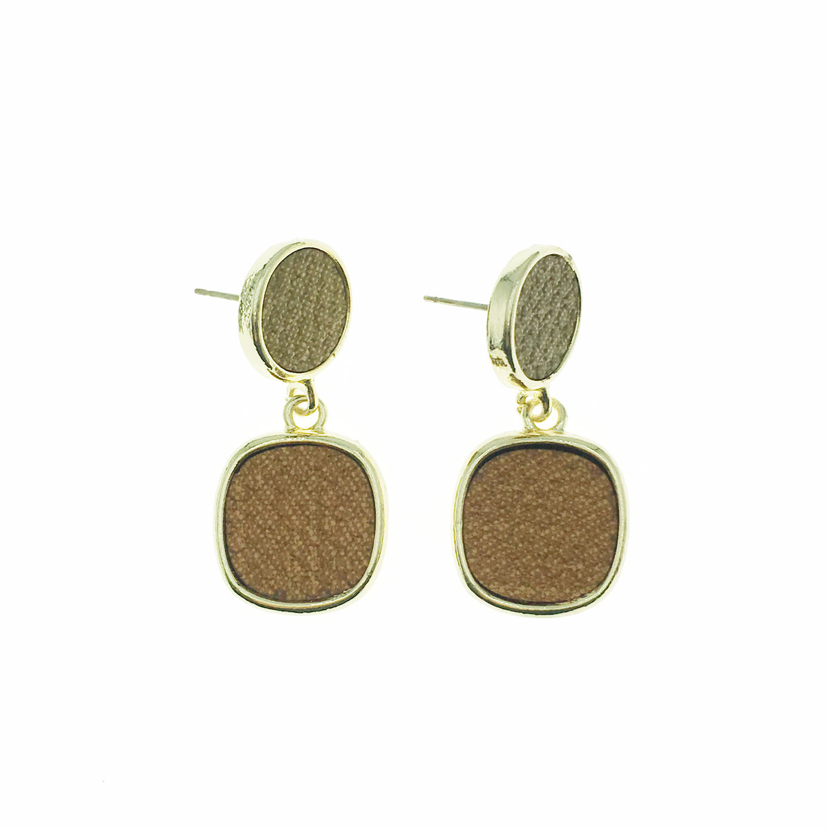 韓國 925純銀 木質感 金邊 正方形 圓 垂墜感 耳針式 耳環