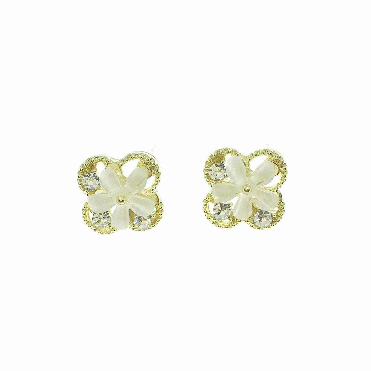 韓國 925純銀 水鑽 花朵 簍空 耳針式 耳環
