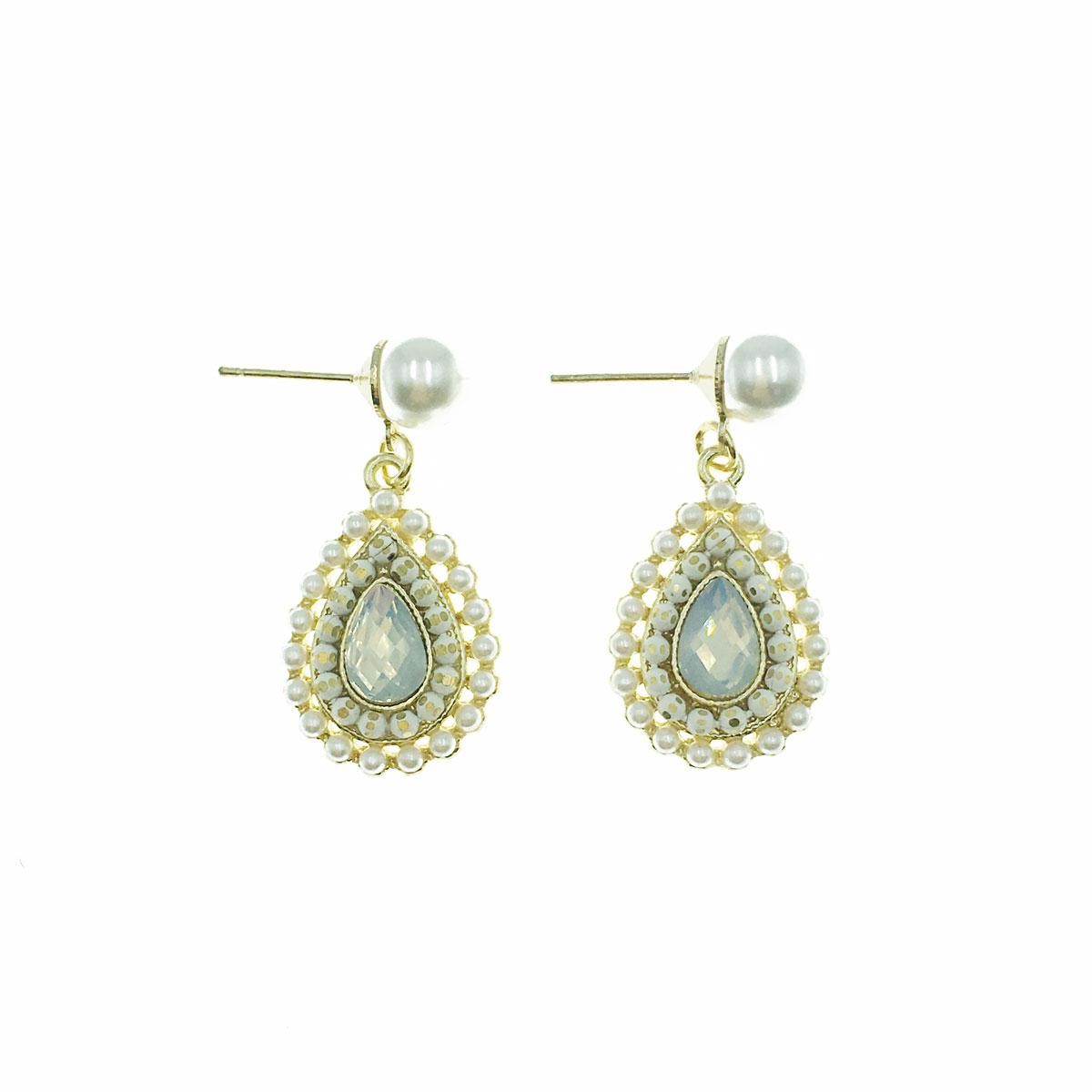 韓國 925純銀 珍珠 水滴 水鑽 垂墜感 耳針式 耳環