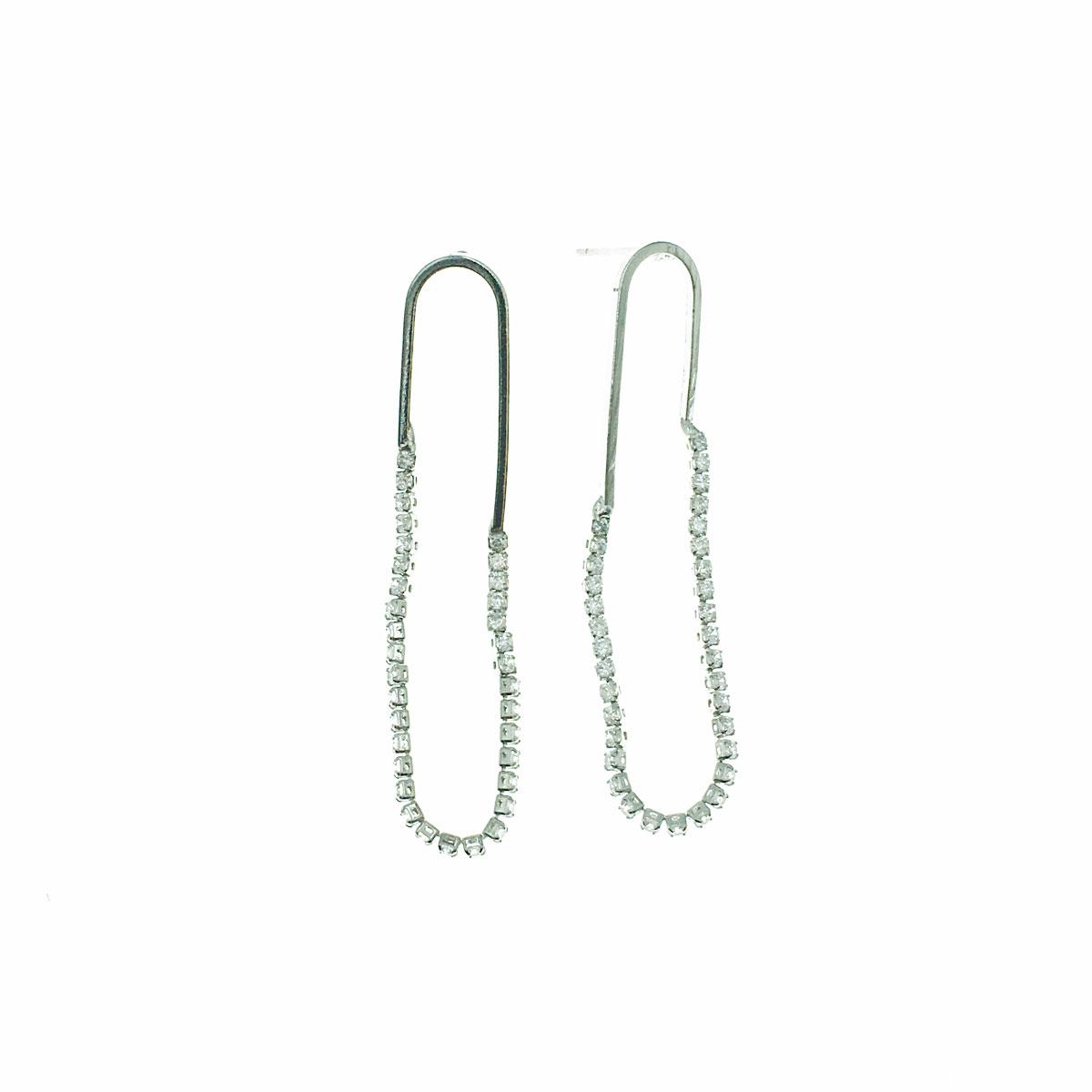 韓國 925純銀 水鑽 簡約 垂墜感 耳針式 耳環