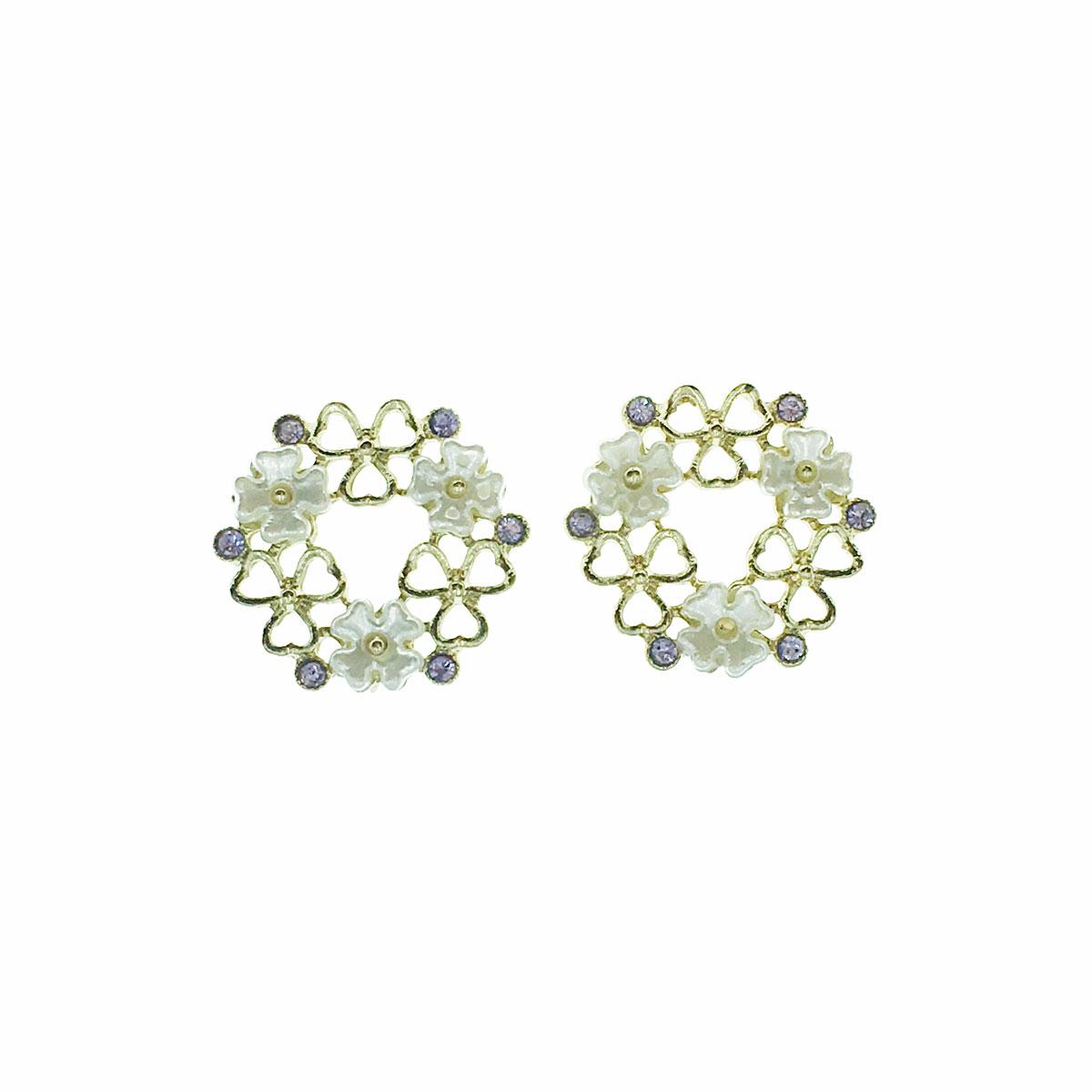 韓國 925純銀 珍珠 花朵 水鑽 簍空 幸運草 耳針式 耳環