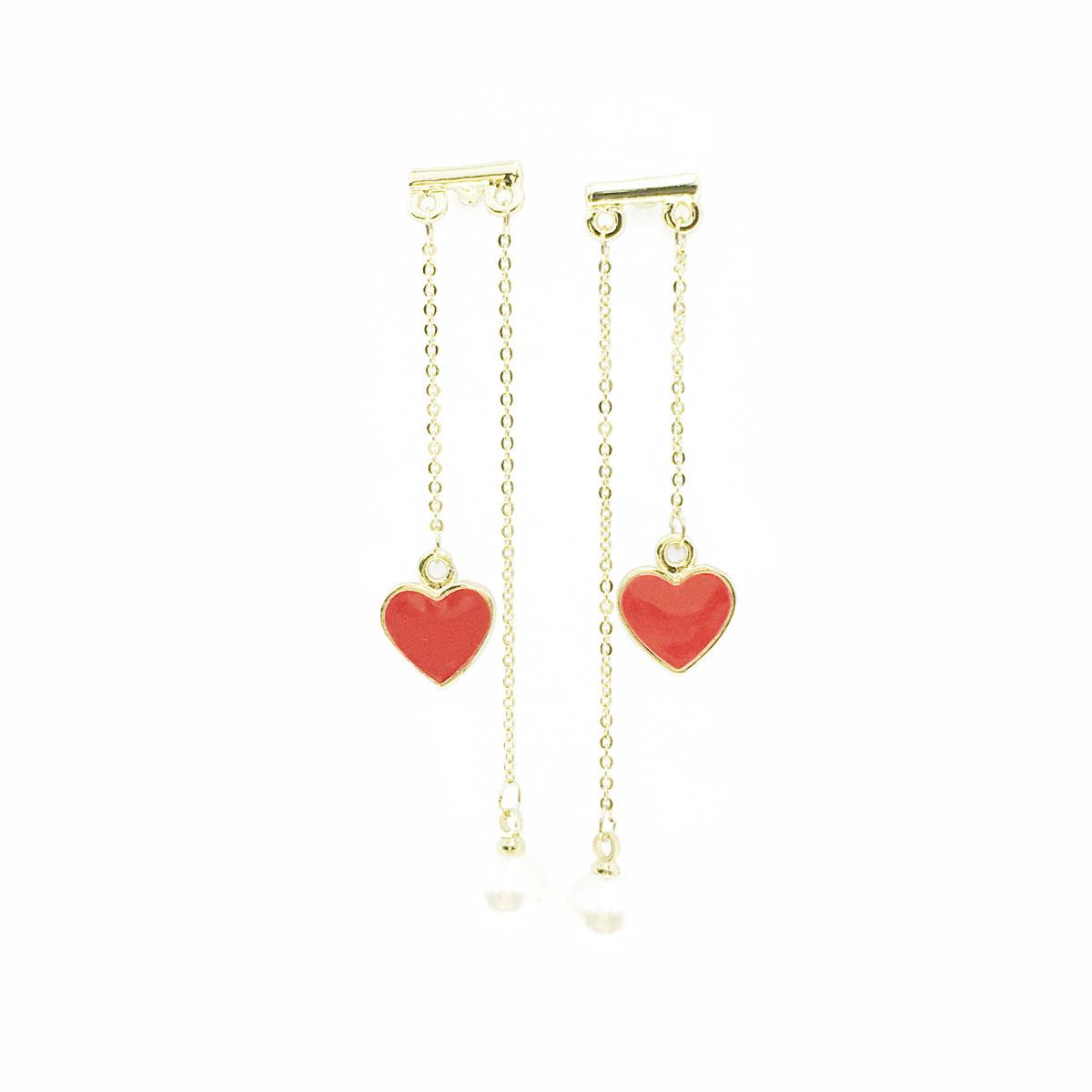 韓國 925純銀 珍珠 愛心 不對稱 垂墜感 耳針式 耳環