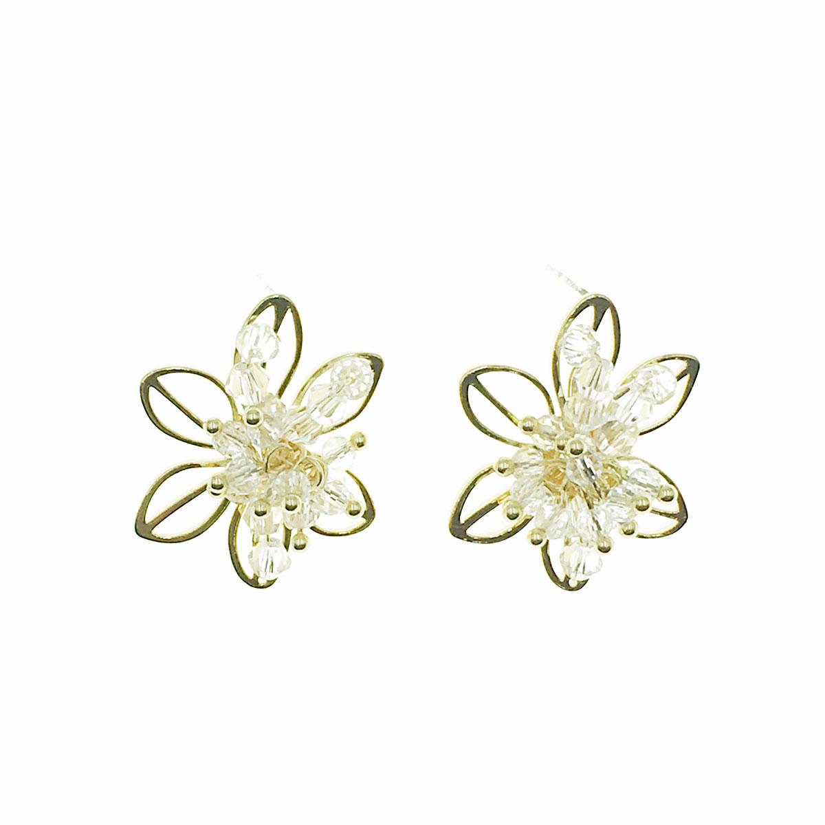 韓國 925純銀 簍空 串珠 花朵 耳針式 耳環