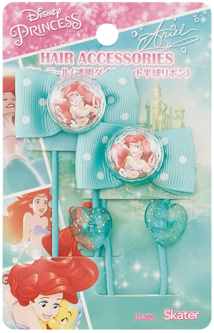 日本 正版授權 美人魚 髮束 愛心 蝴蝶結 二入一組 兒童髮飾