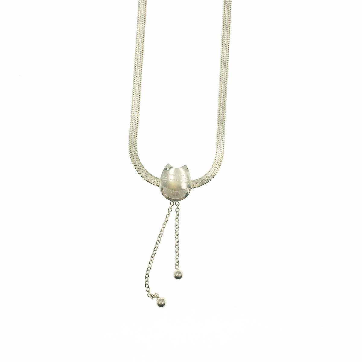 韓國 不銹鋼 金屬球 貓咪 垂墜 鎖骨鍊 短鍊 項鍊