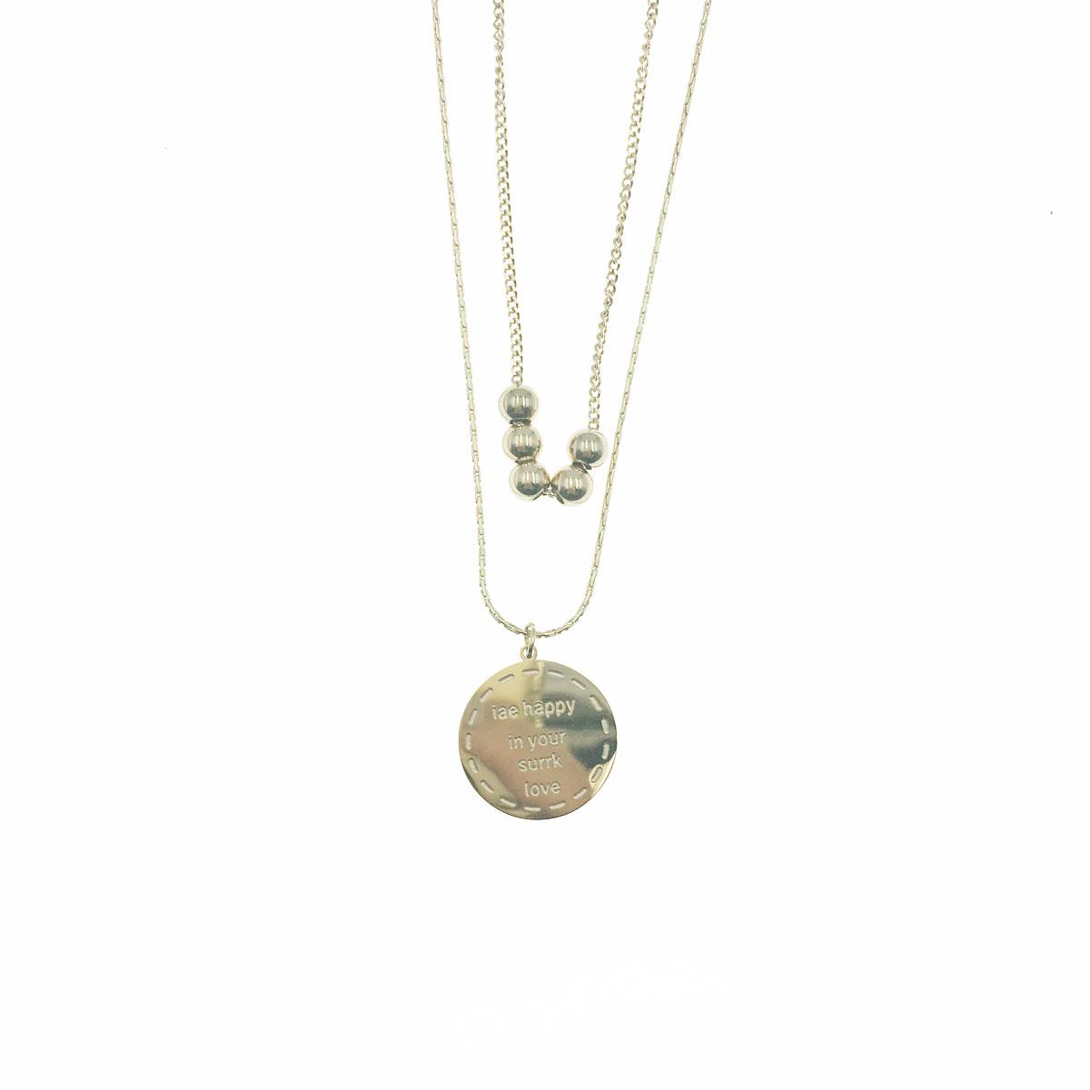 韓國 不銹鋼 金屬球 英文 圓 鎖骨鍊 短鍊 項鍊